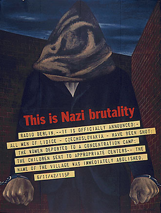 file:/activities/oralhistory/cappics/cohen1917_brutality, alt: poster showing chained man with hood over his head and caption: This is Nazi brutality