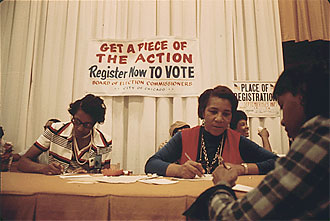 file:/activities/oralhistory/cappics/loving1945_register, alt: Ruth Loving working to register voters