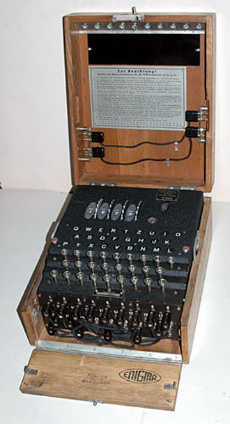 file:/activities/oralhistory/cappics/slater1942_1945_enigma, alt: Enigma cipher machine in wooden case